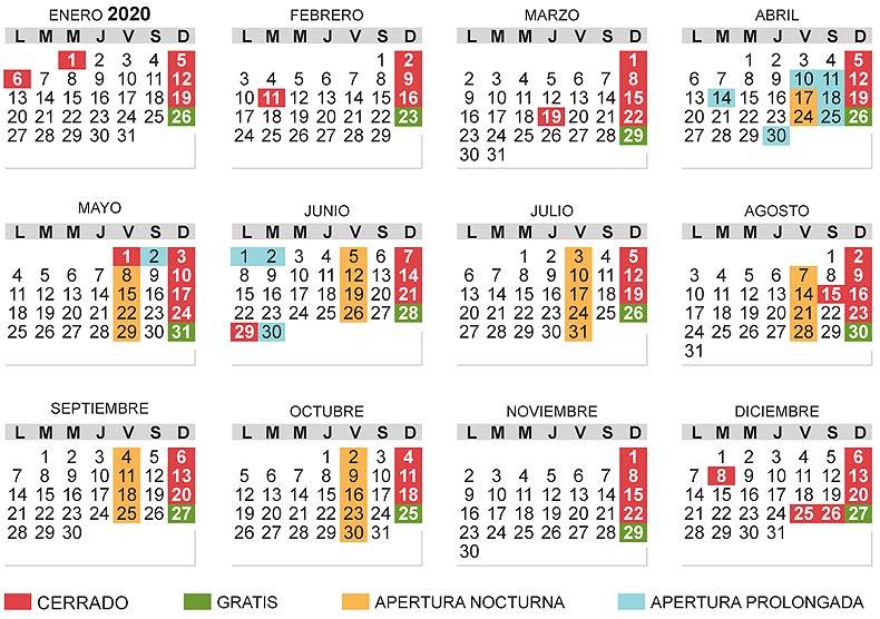 Calendario Museos Vaticanos 2020