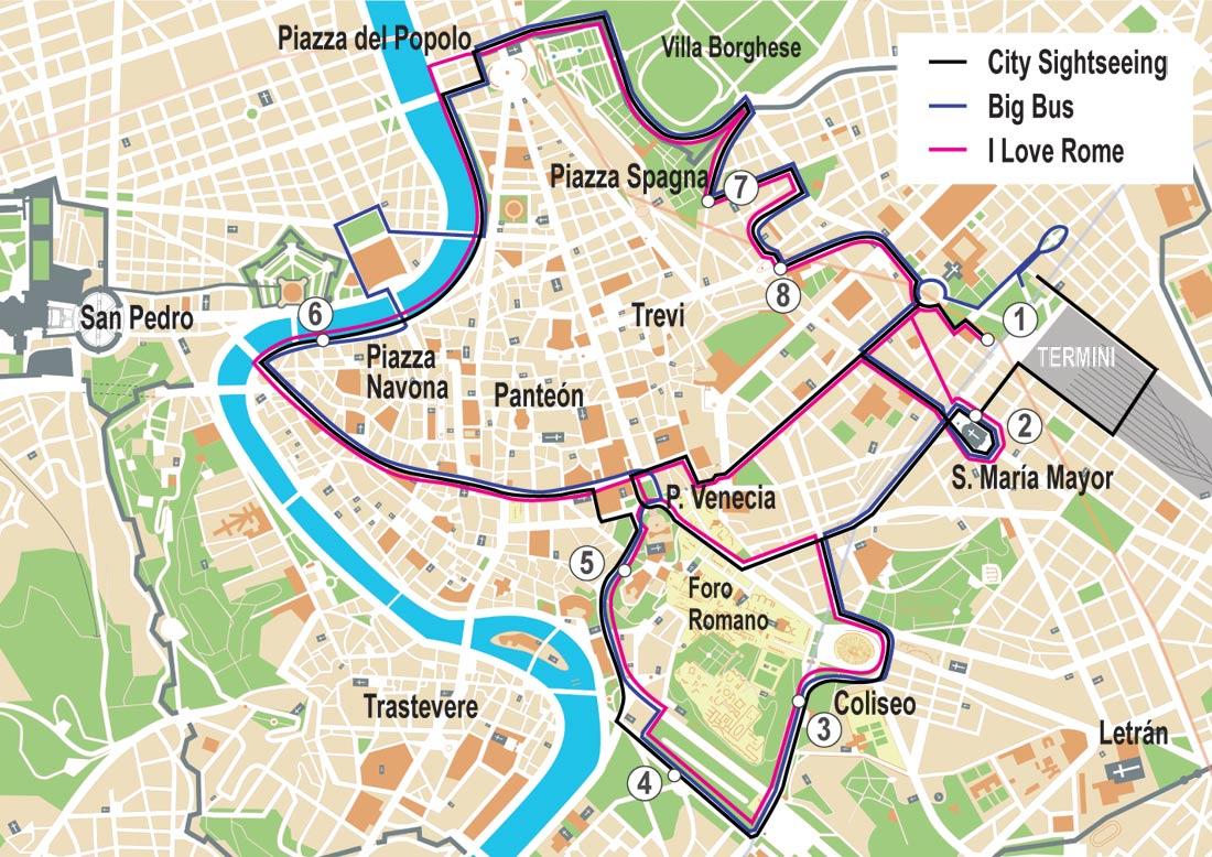 Turistico Español Mapa Turistico De Roma A Pie.Autobuses Turisticos Por Roma Comparativa De Tarifas Y