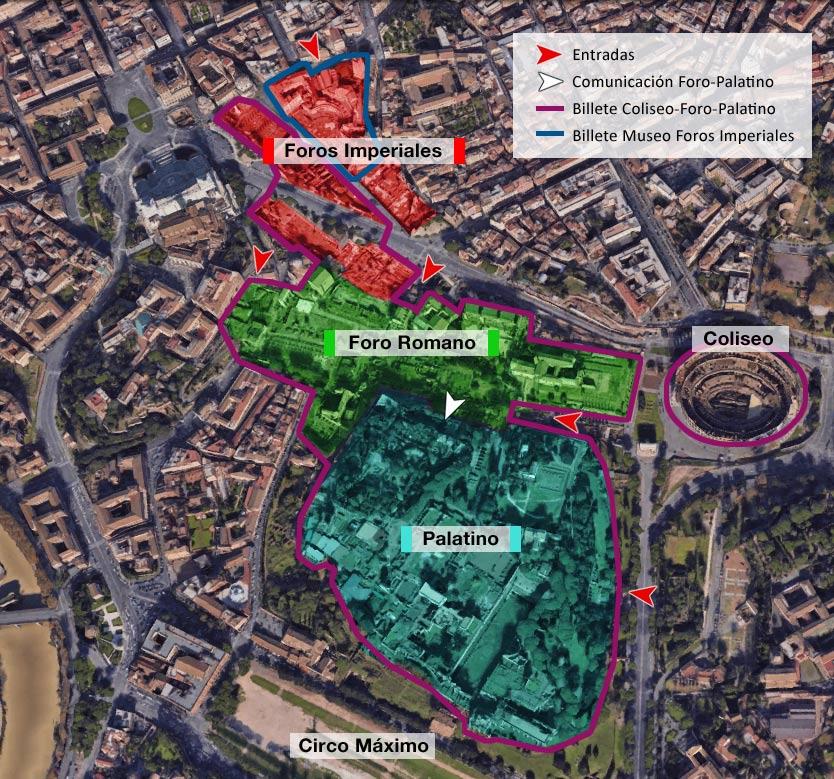 Foro Romano - mapa general de la zona