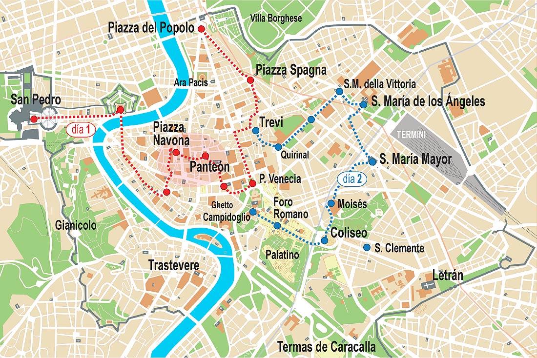 Turistico Español Mapa Turistico De Roma A Pie.Roma Visita Ideal Para 2 Dias 3 Dias 4 Dias De Estancia