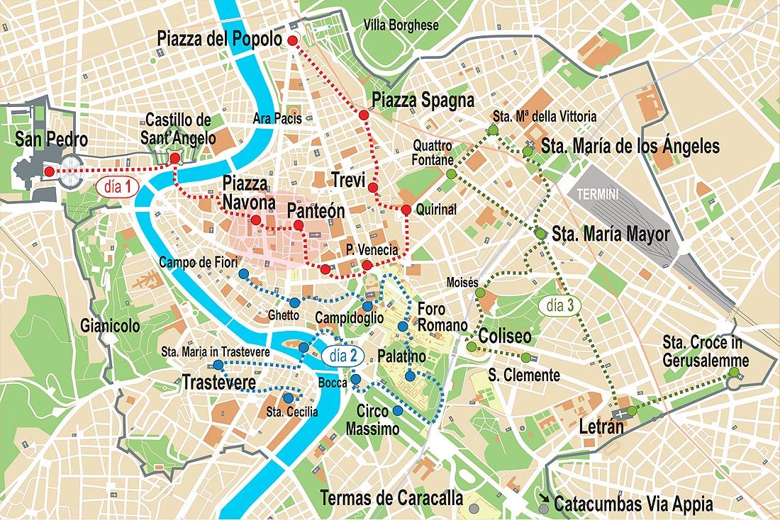 Mapa De Roma Turistico.Roma En 3 Dias Mapa