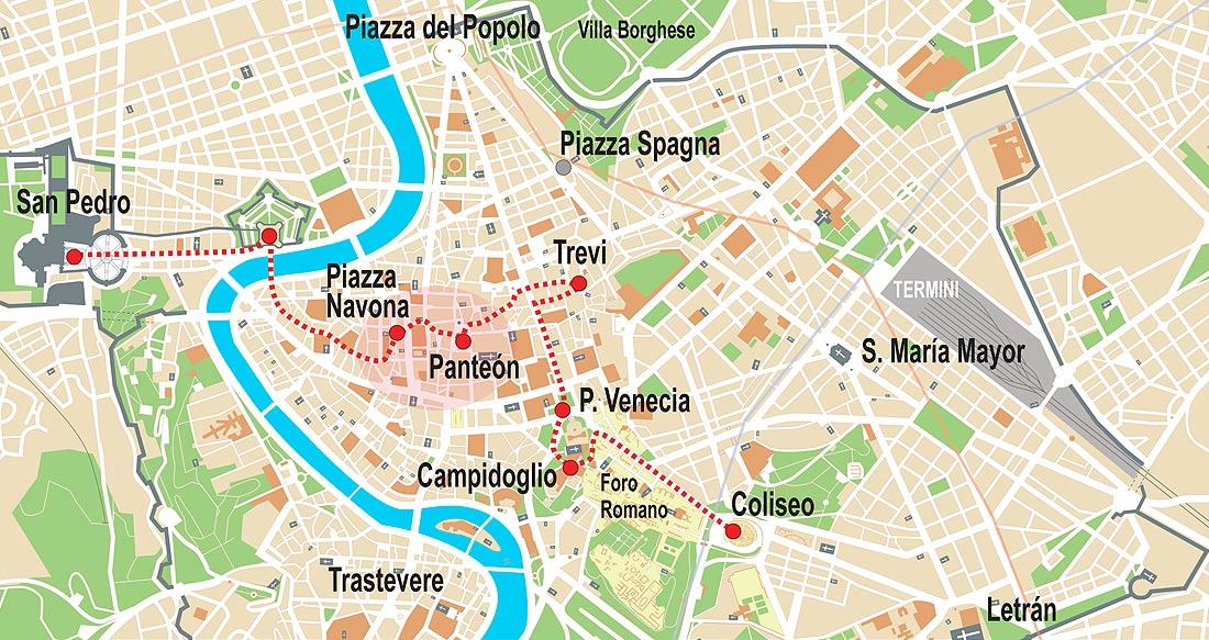 Mapa De Roma Pdf.Roma Visita Ideal Para 2 Dias 3 Dias 4 Dias De Estancia